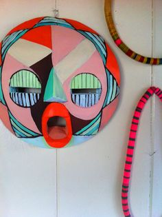 """ohhhhh!!"".. Justina Blakeney re-painted one of her masks. Great idea."