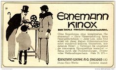 Original-Werbung/ Anzeige 1917 - ERNEMANN KINOX KINEMATOGRAPH - ca. 135 x 75 mm