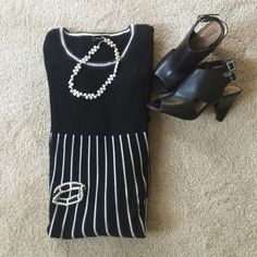 "CLEARANCE -Cute Dress Cute black and white striped dress -  from shoulder is 41"" long -  100% cotton Spense Dresses Midi"