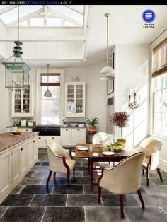 soapstone countertop, butcher block island...  skylight to die for!