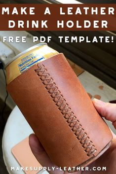 Want to make a leather drink or beer can holder? Check out this FREE PDF template and build along video. Want to make a leather drink or beer can holder? Check out this FREE PDF template and build along video. Leather Stamps, Leather Art, Sewing Leather, Leather Pattern, Custom Leather, Leather Tooling, Leather Jewelry, Leather Design, Tandy Leather