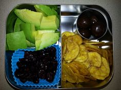 Adult Snack Bento -Avocado -Craisins -chocolate covered macadamia nuts -plantain chips