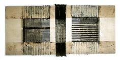 Caroline Bartlett: Discourse II.  0.30 x 0.81m Stitch and resist techniques on linen.