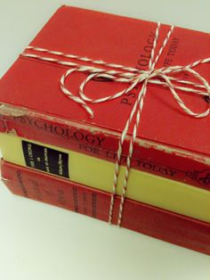 VintageGift Red and Yellow BooksHouse Warming by beachbabyblues