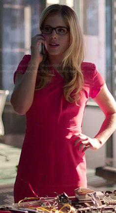 Felicity's red knot front dress on Arrow.  Outfit Details: http://wornontv.net/38870/ #Arrow