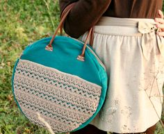 Round handbag / tote bag in teal with lace  OOAK by ritaboth121