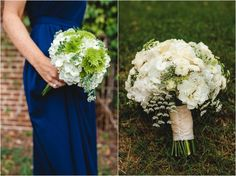 White and green Lisa Foster Floral Design wedding bouquets. Click to view more from this Tennessee wedding! Morristown TN