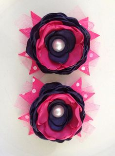 Pigtail flowers you pick colors by JensBowdaciousBows on Etsy, $6.00