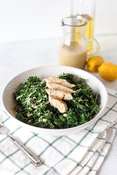 This Warm Kale Chicken Caesar Salad is a great way to enjoy a salad in the colder months! compliant and an easy caesar dressing that is dairy free! Cook Chicken On Stove, How To Cook Chicken, Lentil Kale Soup, Lunch Recipes, Whole30 Recipes, Drink Recipes, Easy Recipes, Rice On The Stove, Salmon And Broccoli