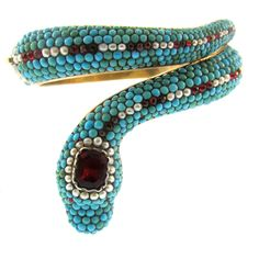19th Century Turquoise Garnet and Pearl Snake Bracelet