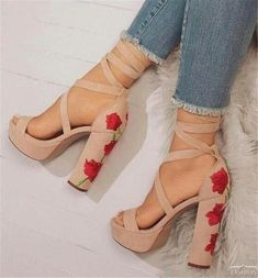 Very cute and square high heels with flower heel design. Buckle ankle strap.