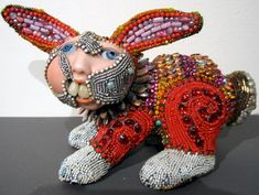 Artist Betsy Youngquist's beaded sculptures are featured at the Kortman Gallery.
