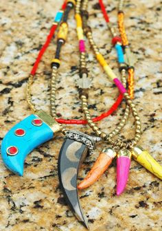 Long Tribal Boho Style Tusk Necklaces 3 styles, each $175