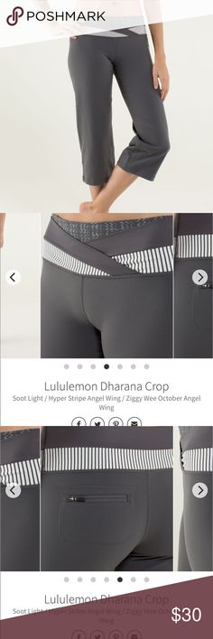 """Lululemon Dharana Crop Dharana crop yoga. Soot light / hyper stripe angel wing / ziggy wee October angel wing. No flaws. No size but waist approximately 15"""" laying flat and approximately 20"""" inseam lululemon athletica Pants"""