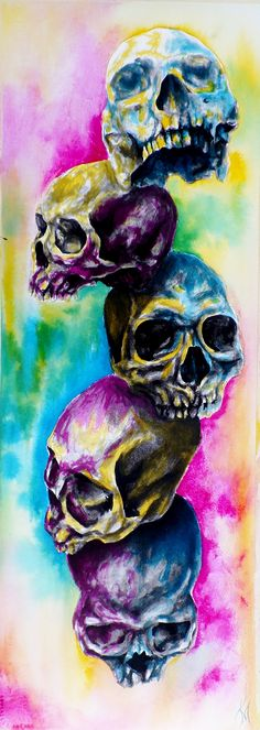 Colorful Skulls by Kenzie Miller, via Behance First thing other than faces that I've painted with inks and watercolor. Fun!