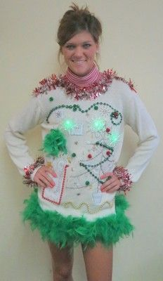 c0f5b375027e LIGHTUP SNOWFLAKES GLAM FOO FOO FEATHER TACKY UGLY CHRISTMAS SWEATER DRESS  SZ L | eBay