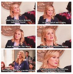 Leslie Knope!! I can just see Ben and Leslie sitting on their couch having a Star Wars marathon... TV's best couple XD