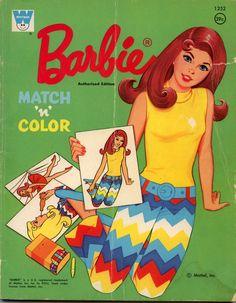 1972 Mod Marlo Flip Barbie Match N Color Book 1252 Unused Mattel Whitman Excellent Original Price Tag NOS Barbie Paper Dolls, Mattel Barbie, Barbie And Ken, Vintage Barbie Clothes, Vintage Toys, Vintage Paper, Barbie Coloring, Colouring, Vintage Coloring Books