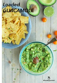 Loaded Guacamole with fresh corn, pepitas, cherry tomatoes, jalapeño, and more!