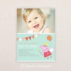 Photo Birthday Party Invitations. Peppa Pig. I Customize, You Print.