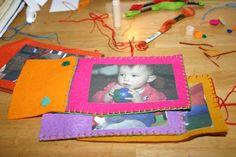 Felt Photo Book! Print photos onto iron on fabric. Great idea!!
