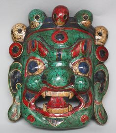 Tibetan Mahakalah Wood Mask Inlaid Turquoise