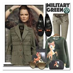"""Army Green"" by ilona-828 ❤ liked on Polyvore featuring moda, Balmain, Givenchy, Gucci, Joie, CÉLINE, Victorinox Swiss Army, Marni y Gogreen"