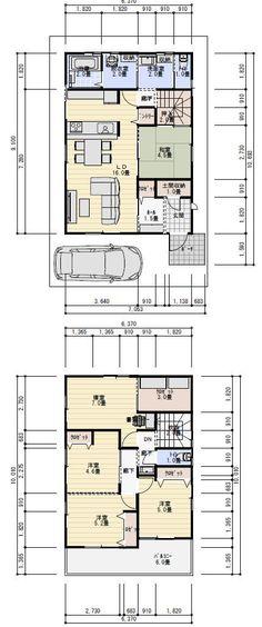 34坪5LDKの5人家族の間取り   理想の間取り Dream House Plans, House Floor Plans, Exterior Design, Interior And Exterior, Hotel Suites, Gaudi, Architect Design, Room Interior, My House