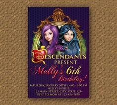 Descendants Birthday Invitation Printable Digital Invitations 9th Parties 10th Slumber