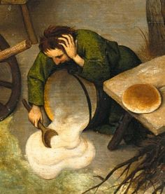 Detail from The Dutch Proverbs, Pieter Bruegel the Elder, 1559 He who has spilt his porridge cannot scrape it all up again Once something is done it cannot be undone From imagediver at Imagediver