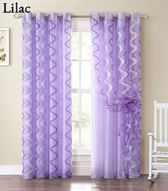 Attractive Single Sheer And Crushed Taffeta Double Layer Window Panel Curtain With  Swirl Design And Silver