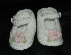 Sweet Crocheted Baby Booties Flower White Pink by Ifonka on Etsy, $12.00