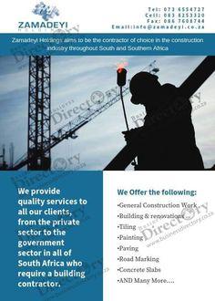 Zamadeyi Holdings in Johannesburg :) Zamadeyi Construction  Construction  Tel: 073 6554727 Cell: 083 8253320 Fax: 086 7608744 Email:zamadeyiholdings@gmail.com General Construction, Building Renovation, Hold On, Naruto Sad