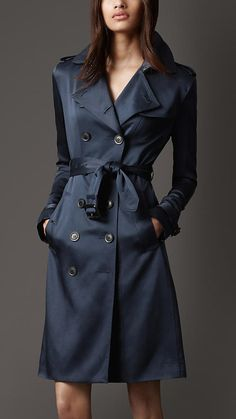 Burberry Mid-Length Silk Trench Coat in Navy... stunning.