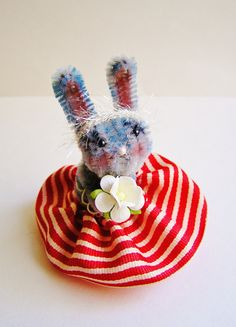 Rochelle the Bunny -- vintage style chenille handmade wired miniature animal - ooak, ornament, gift, topper, petite decor. $11.99, via Etsy.