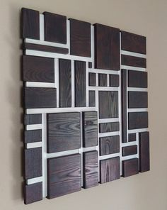 Wood Wall Art - Wall Art - Wood and Metal Mosaic Sculpture - Burnt Ash and Aluminum Wooden Wall Decor, Wooden Walls, Metal Walls, Wood And Metal, Wooden Wall Art Panels, Wall Wood, Metal Tree, Wall Décor, Art Mural 3d