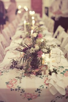 Centerpieces overflowed with wildlflowers and greenery.