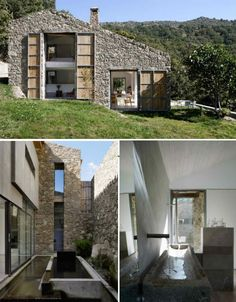 Architecture firm Abaton took a crumbling, centuries-old stone barn in the Spanish province of Caceres and rehabilitated it into a beautiful family home, with the haylofts becoming bedrooms. The large doors – two stories tall, in one case – were glassed in to create massive windows.