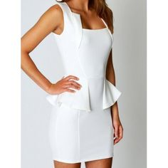 Olivia Square Neck Peplum Bodycon Dress from boohoo. Saved to clothes. Club Dresses, Casual Dresses, Dress Skirt, Bodycon Dress, Peplum Dresses, Modest Dresses, Ruffle Dress, Dress Outfits, Girly