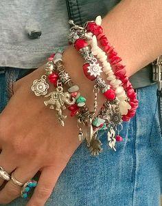 Coral Bracelets Boho Chic Bracelet Stack Charm Bracelets by MyAqua