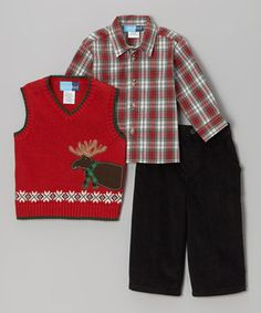 This Good Lad Red Moose Sweater Vest Set - Infant, Toddler & Boys by Good Lad is perfect! #zulilyfinds