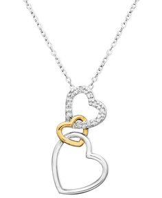 18k Gold over Sterling Silver and Sterling Silver Heart Necklace, Diamond Accent Three Interlocking Heart Pendant
