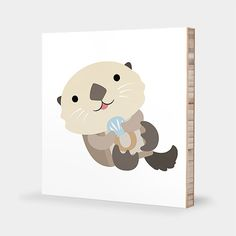 O for Sea Otter : ABC Block Bamboo Wall Art Series // Alphabet Kids Wall Art Nursery Room Decor Animal Baby
