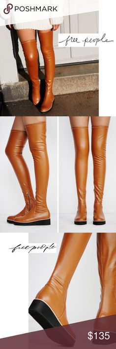 "NEW! BREAKAWAY OVER-THE-KNEE BOOTS NWOB〰SOLDOUT Made from a stretch vegan leather, these high over-the-knee boots feature a rounded toe and platform with a contrast band. Inside zip for an easy on-off and treaded sole with a padded footbed for a comfy fit. + Faux Leather upper + Stretch velour lining  + Side Zip Closure  + Padded footbed + 1.75"" wedge heel  +1"" platform + Boot height of 28"" w/heel + Rubber outsole + Runs 1/2 Size small  Bundle Discount ^ No Trades ^ Offers Considered ^ Have…"