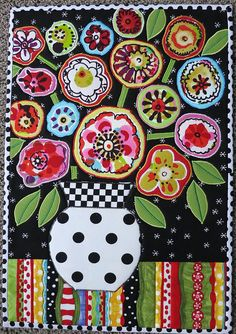 "Folk Embroidery Ideas ""Folk Art Flowers"" -- I love everything mamacjt does, but especially this. - 12 x 17 inches. Made for the Little Quilt, sew, vote, swap group. Being mailed today. Decoupage Vintage, Folk Art Flowers, Flower Art, Art Floral, Art Fantaisiste, Drawn Art, Flower Quilts, Folk Embroidery, Embroidery Ideas"