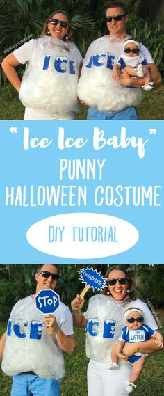 """""""Ice Ice Baby"""" Punny Halloween Costume for a Family of 3! The step by step DIY tutorial for how we created our creative punny Halloween costumes...plus plenty of hilarious outtakes from our 5th annual photo shoot!"""