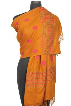 Designer Embroidered Shawl; Carrot Orange Party and Festival Embroidered Silk Shawl