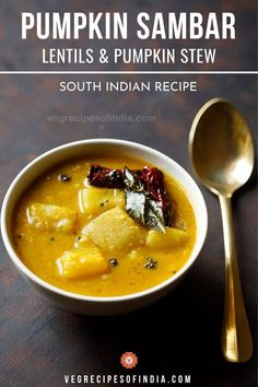 Pumpkin sambar is a unique sambar preparation as it only uses pumpkin and no other vegetables. This authentic South Indian recipe for lentils and pumpkin stew is from the Tamil region and is quite del Pumpkin Stew, Pumpkin Vegetable, Baked Pumpkin, Vegetable Dishes, Vegetable Recipes, South Indian Breakfast Recipes, Best Breakfast Recipes, Indian Food Recipes, Lentil Recipes