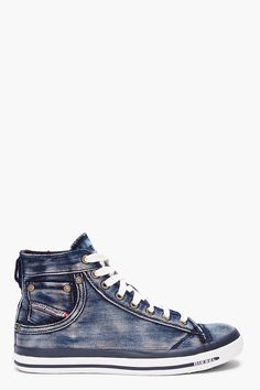 Diesel Washed Denim Exposure Sneakers in Blue for Men (denim)