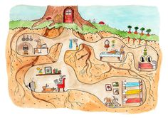 Rabbit Burrow Cross Section Print by JodiLynnDoodles on Etsy